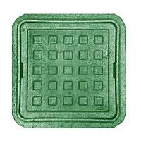 """Люк квадратный MINI """"Ромашка"""" полимерный зелёный (1,5т) р.260/370"""