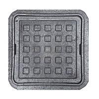 """Люк квадратний MINI """"Ромашка"""" полімерний чорний (1,5 т) р. 260/370"""