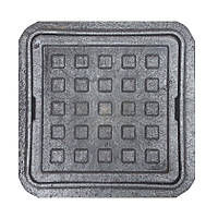 """Люк квадратный MINI """"Ромашка"""" полимерный черный (1,5т) р.260/370"""