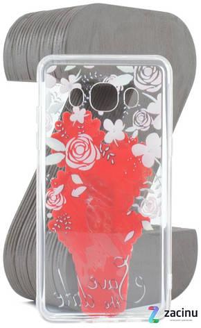 Чохол-накладка TPU для Samsung J510F J5(2016) Flowers diamonds ser. Квіти(Cactus) Прозорий/червоний, фото 2