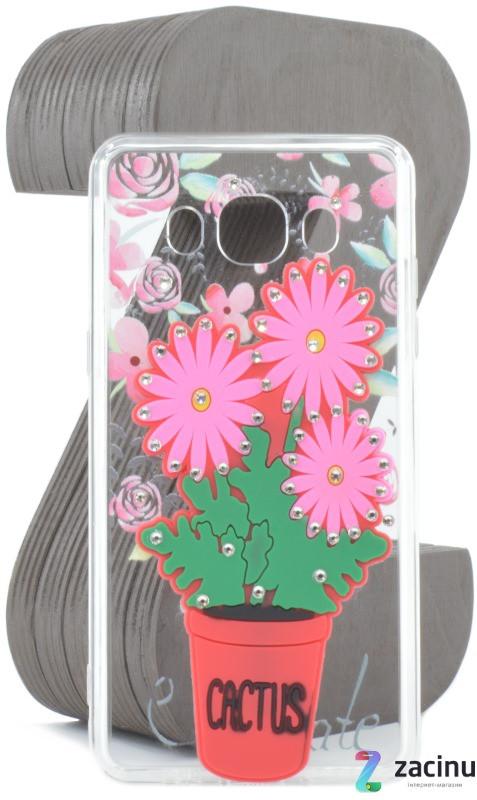 Чохол-накладка TPU для Samsung J510F J5(2016) Flowers diamonds ser. Квіти(Cactus) Прозорий/червоний