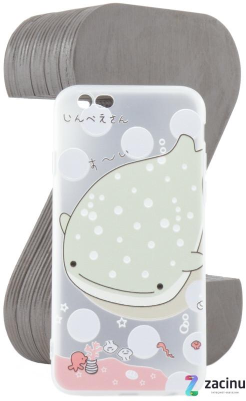 Чехол накладка TPU для iPhone 6 / 6S Fashion ZOO ser. Кит Прозрачный / матовый