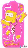 Чохол-накладка для iPhone 5/5S/SE The Simpsons ser. Об'ємний Bart Simpson Рожевий