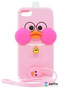 Чехол накладка для iPhone 7/8 Duck ser.Объемный С шнурочком Розовый