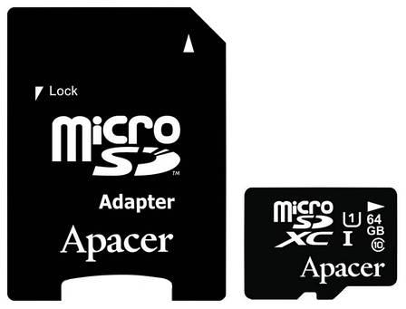 Карта пам'яті microSDXC Apacer UHS-1 64GB class 10 +adapter SD (AP64GMCSX10U1-R), фото 2