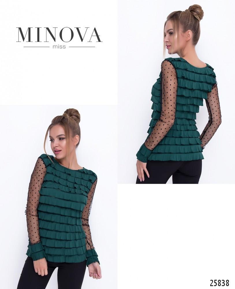Стильна молодіжна блуза з трикотажу та сітки в горох