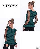 Стильна молодіжна блуза з трикотажу та сітки в горох, фото 1