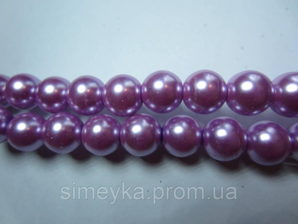Жемчуг фиолетовый керамический перламутровый 8 мм, нить 54 шт.