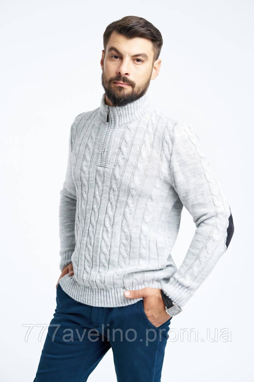 Мужской шерстяной теплый свитер светло серый