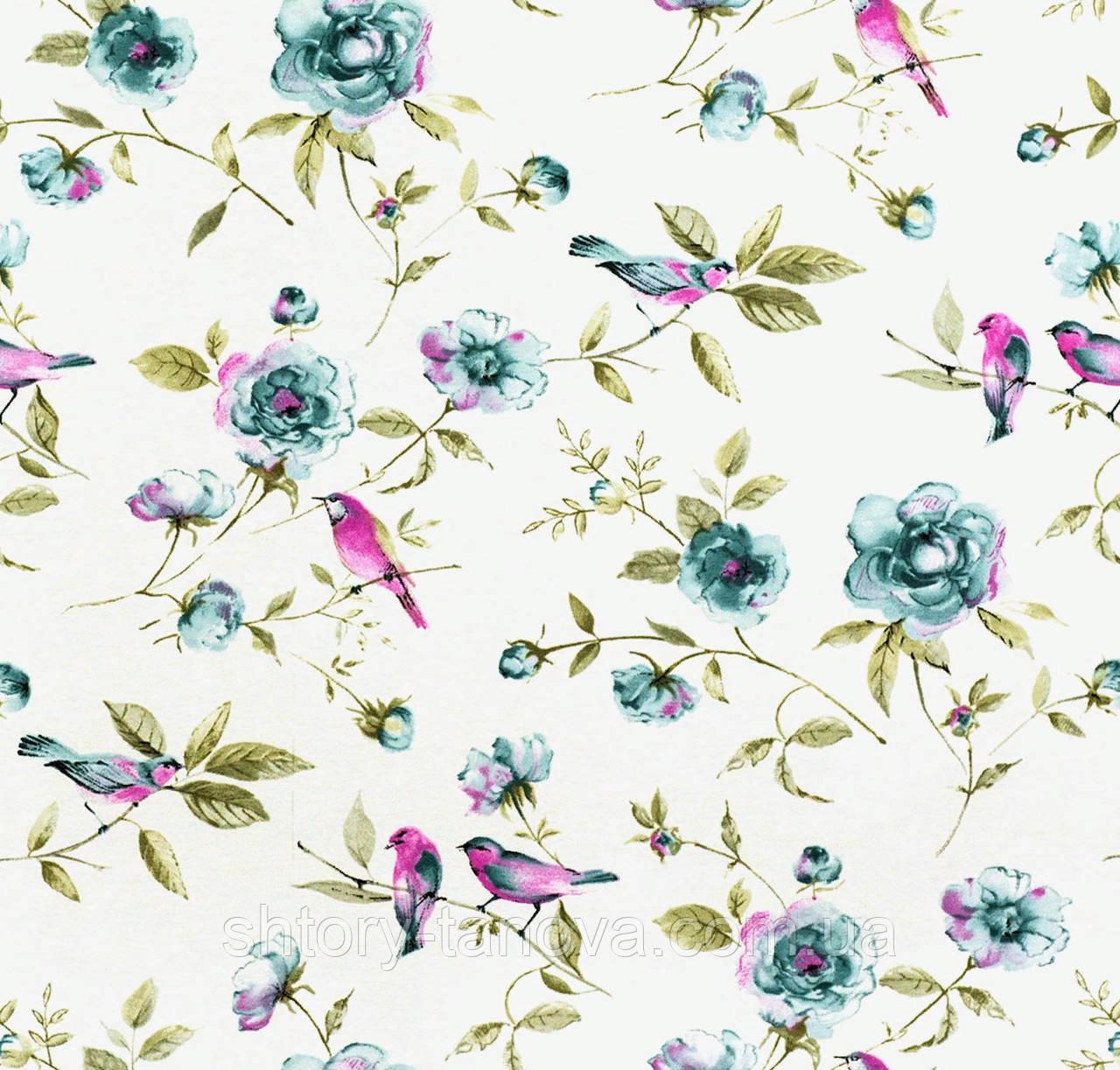 купить ткань для штор с цветами