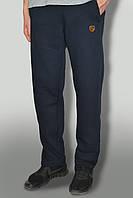 Мужские очень теплые штаны с начёсом ткань Турция цвет темно синий желтый логотип карманы на замках
