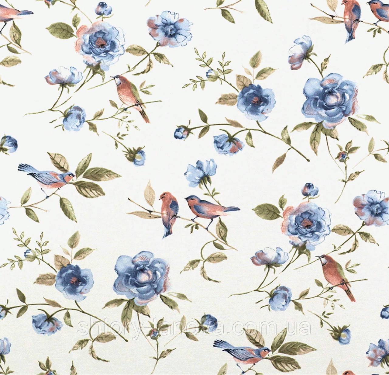 Гарна тканина для штор з квітами і птахами синя