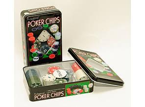 Фишки для покера в металлической коробке. 100 фишек