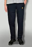 Мужские теплые штаны с начёсом ткань Турция темно-синий с логотипом lamborgini карманы на замках