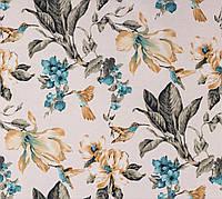 Красивая ткань для штор с цветами и птицами бирюзово-золотой
