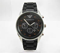 Часы Emporio Armani Silicone 43mm Silver/Black (кварц). Реплика