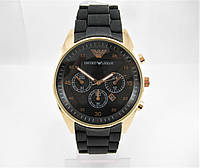 Часы Emporio Armani Silicone 43mm Gold/Black (кварц). Реплика