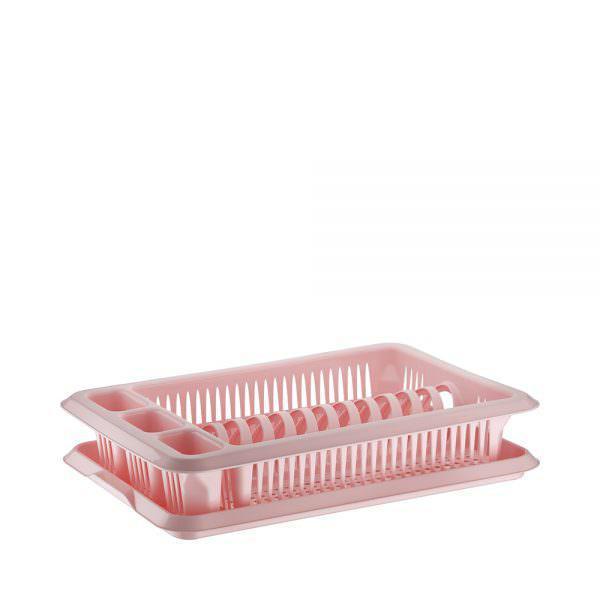Сушка для тарелок одноярусная ELIF розовая