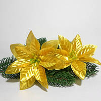 "Цветок пуансетии, ""Рождественская звезда"",  11 см, парча, цвет  золото"