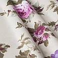 Красивая ткань для штор в стиле прованс с цветами сиреневая, фото 2