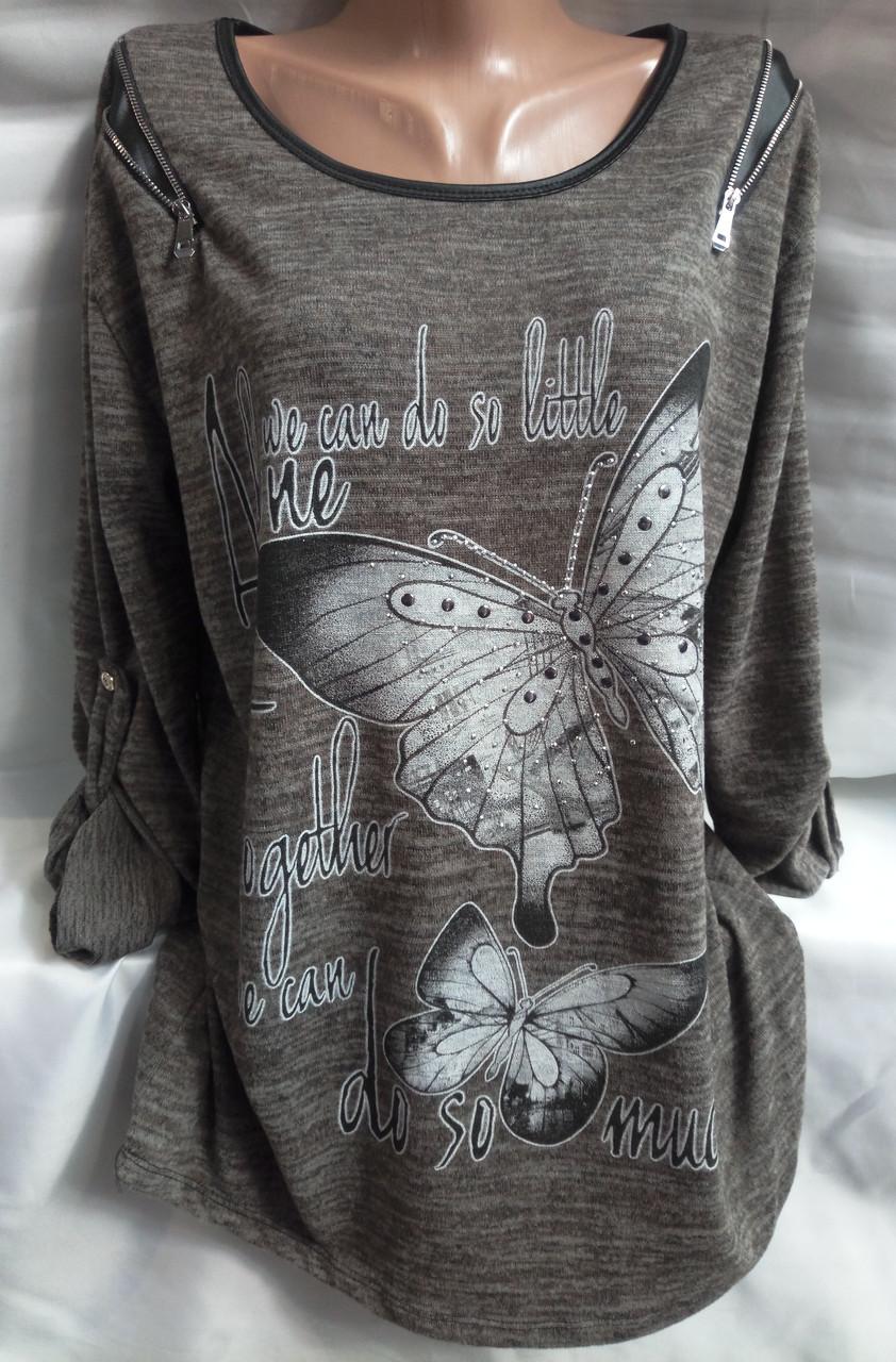 Блуза с бабочками женская батальная (ангора-софт)