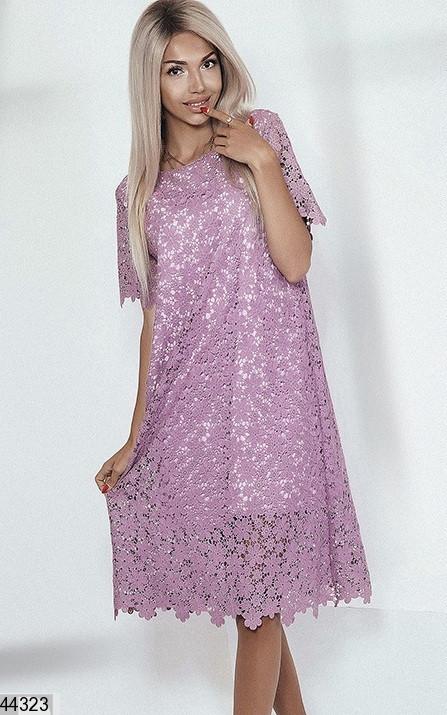 Шикарное платье кружево сиреневое размер универсальный: 42-48