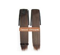 Хвост на ленте из искусственных волос, шиньон, наращивание волос, длина - 55 см, вес - 80 г, цвет - №М4\30