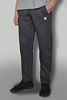 """Мужские зимние теплые штаны с начёсом ткань Турция цвет """"антрацит"""" темно-серые с логотипом BESTWOSK"""