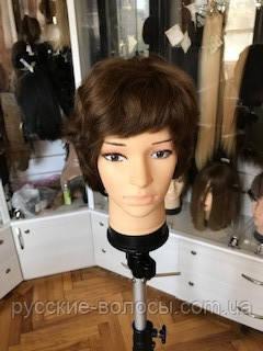Женский волнистый парик из натуральных волос темно русый