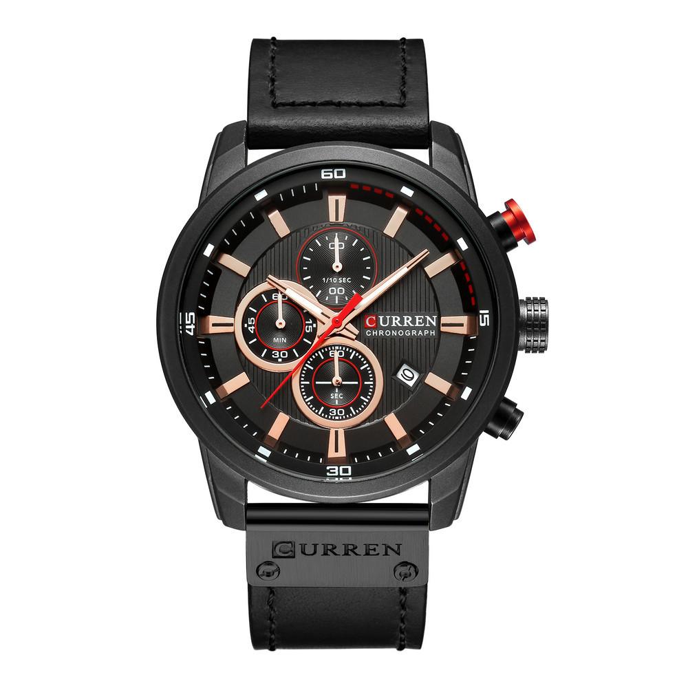 Наручные часы CURREN 8291 мужские кварцевые водонепроницаемые часы с PU кожаным ремешком Черный (SUN2194)