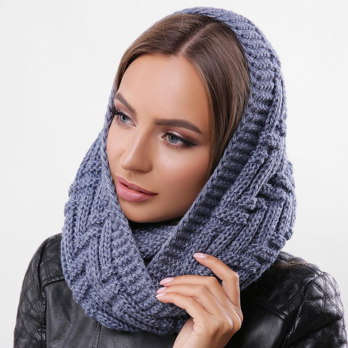 Синий вязаный снуд, шарф-хомут