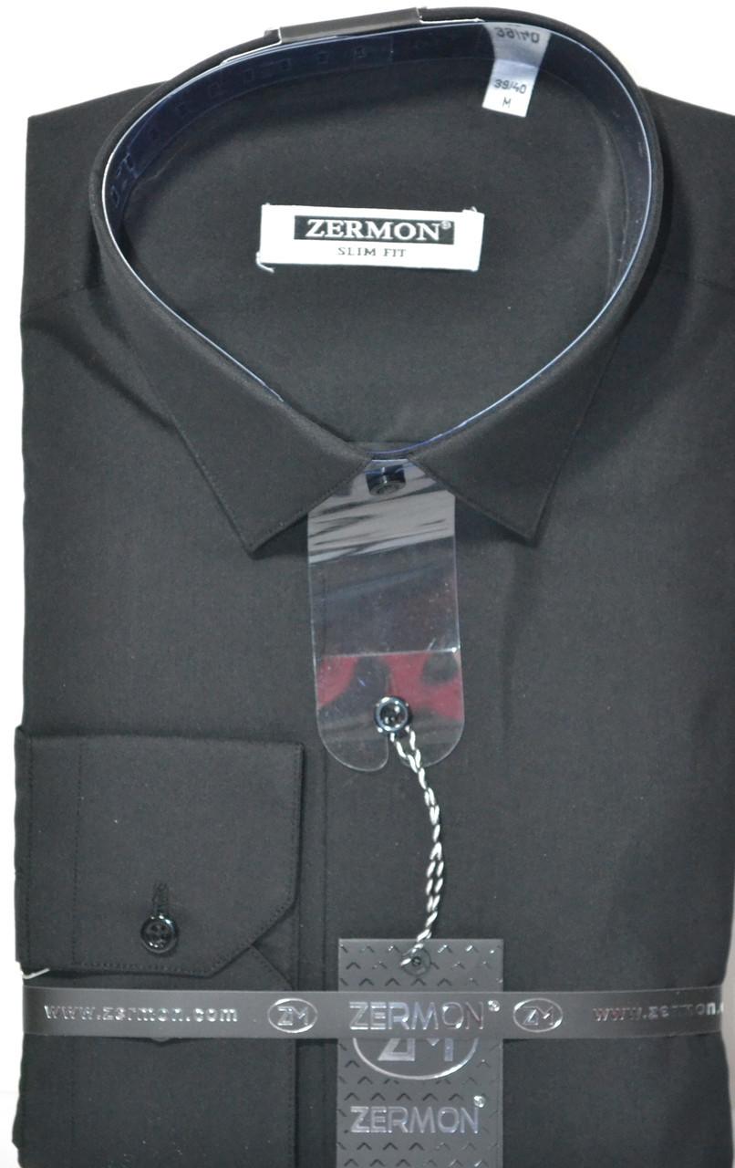 Турецкая черная приталенная рубашка ZERMON (размер S,M,L,XL,XXL + под заказ)