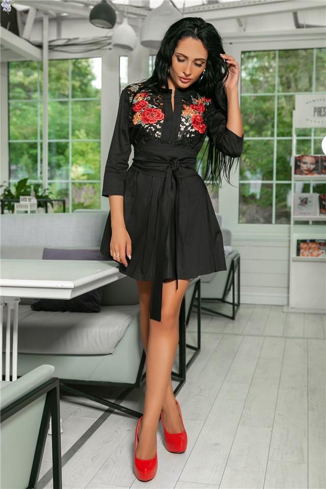 Женское Платье, цвет - Чёрный (141)714. Ткань: коттон + дорогое кружево + вышивка. Размеры: 42-44, 46-48, 50-52.