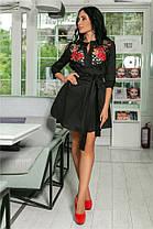 Женское Платье, цвет - Чёрный (141)714. Ткань: коттон + дорогое кружево + вышивка. Размеры: 42-44, 46-48, 50-52., фото 3