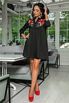 Женское Платье, цвет - Чёрный (141)714. Ткань: коттон + дорогое кружево + вышивка. Размеры: 42-44, 46-48, 50-52., фото 2