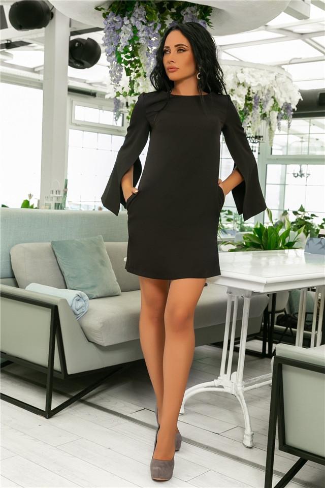 Женское Платье, цвет - Чёрный (141)701-3. (7 цветов), Ткань: креп. Размеры: 42, 44, 46, 48, 50, 52.