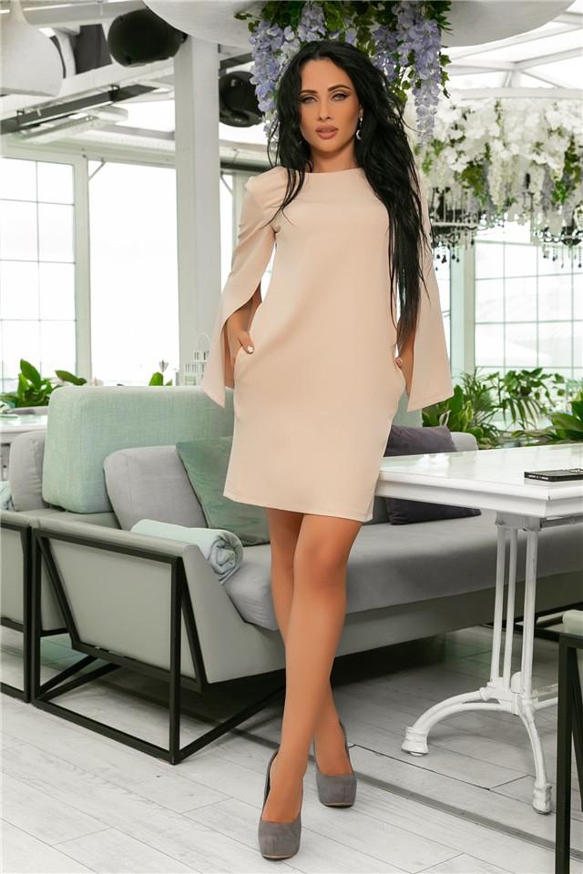 Женское Платье, цвет - Беж (141)701-6. (7 цветов), Ткань: креп. Размеры: 42, 44, 46, 48, 50, 52.