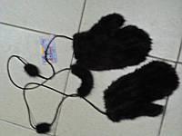 Варежки из канадской вязаной норки цвет-махагон  коричневый