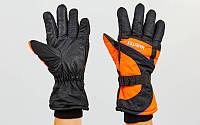 Перчатки горнолыжные теплые A-7707 (черный-оранжевый)