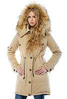 Зимняя парка с мехом женская теплая куртка удлиненная, бежевая