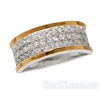 """Женское серебряное кольцо с золотыми пластинами """"Аркадия"""""""