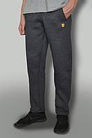 Мужские очень теплые штаны с начёсом ткань Турция цвет антрацит логотип lamborgini карманы на замках