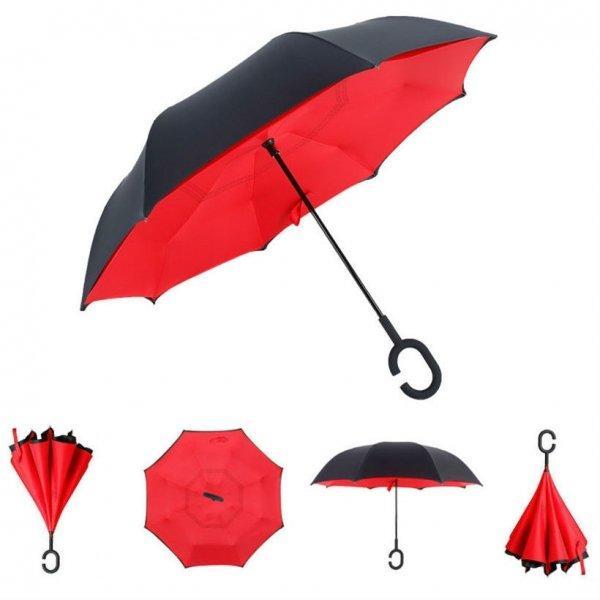 Умный зонт Наоборот (Красный)