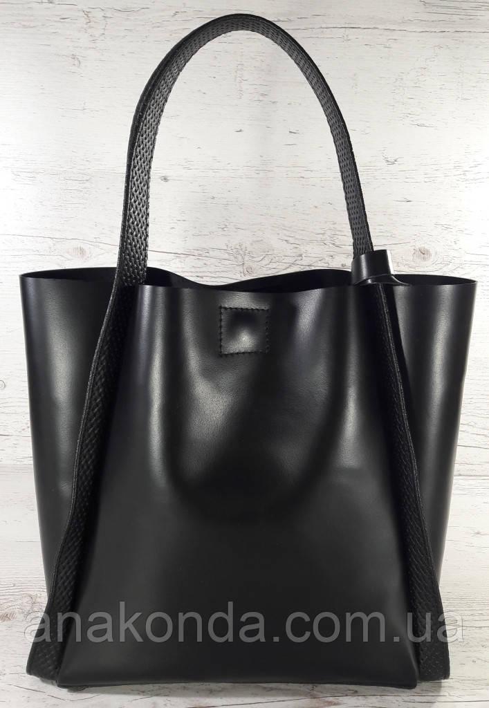 151 Натуральная кожа, Сумка женская черная Сумка шоппер черная Сумка шоппер кожаная Сумка ручки тиснение