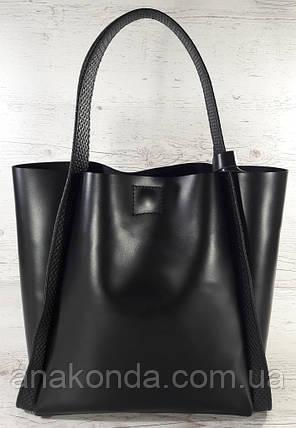 151 Натуральная кожа, Сумка женская черная Сумка шоппер черная Сумка шоппер кожаная Сумка ручки тиснение, фото 2