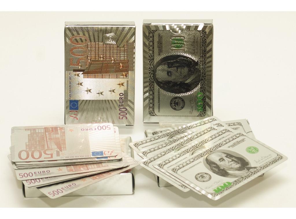 """Колода пластиковых карт """"500EURO"""", """"100 USD"""" Серебро"""