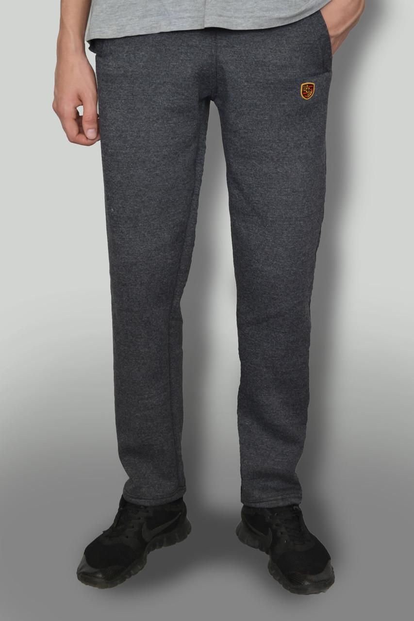 """Мужские очень теплые штаны с начёсом ткань Турция """"антрацит"""" темно-серые с логотипом"""