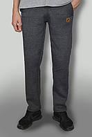 """Мужские очень теплые штаны с начёсом ткань Турция """"антрацит"""" темно-серые с желтым логотипом"""
