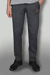 """Чоловічі дуже теплі штани з начосом тканина Туреччина """"антрацит"""" темно-сірі з логотипом"""