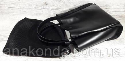 151 Натуральная кожа, Сумка женская черный, ручки тиснение рогожка, фото 2